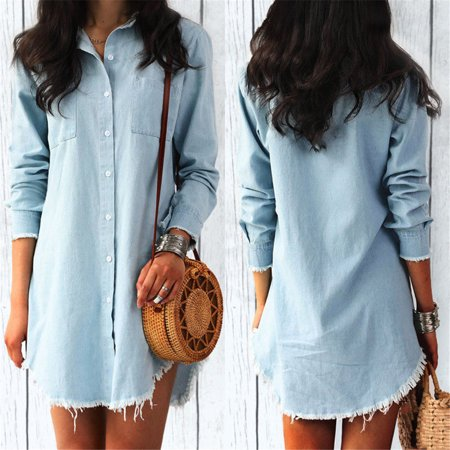 Women Ladies Casual V Neck Blouse Tassel Denim Top Ladies Tunic T Shirt Mini Solid Dress Light Blue - Casual Light Blue Dress