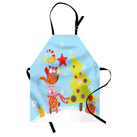 - Christmas Apron Funny Cartoon Stylized Cat Owl and a Bird Best Friends Animals Gifts Noel Print, Unisex Kitchen Bib Apron with Adjustable Neck for Cooking Baking Gardening, Green Blue, by Ambesonne