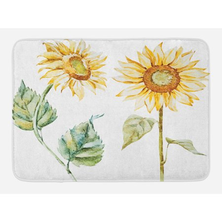 Watercolor Bath Mat, Alluring Sunflowers Summer Inspired Design Agriculture, Non-Slip Plush Mat Bathroom Kitchen Laundry Room Decor, 29.5 X 17.5 Inches, Earth Yellow Pale Yellow Fern Green, Ambesonne