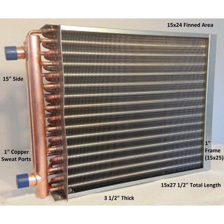 """15x24  Water to Air Heat Exchanger 1"""" Copper Ports With Install"""
