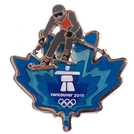 (Vancouver 2010 Olympics Clear Blue Leaf Skier Pin)