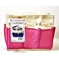 """Allary #1610 Canvas Craft Caddy Organizer Project Tote 9.5""""x5""""x8.5"""", Pink"""