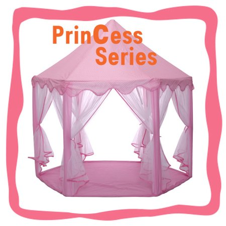 Kids Indoor Princess Castle Play Tent - Outdoor Large Children Playhouse with LED Star Lights