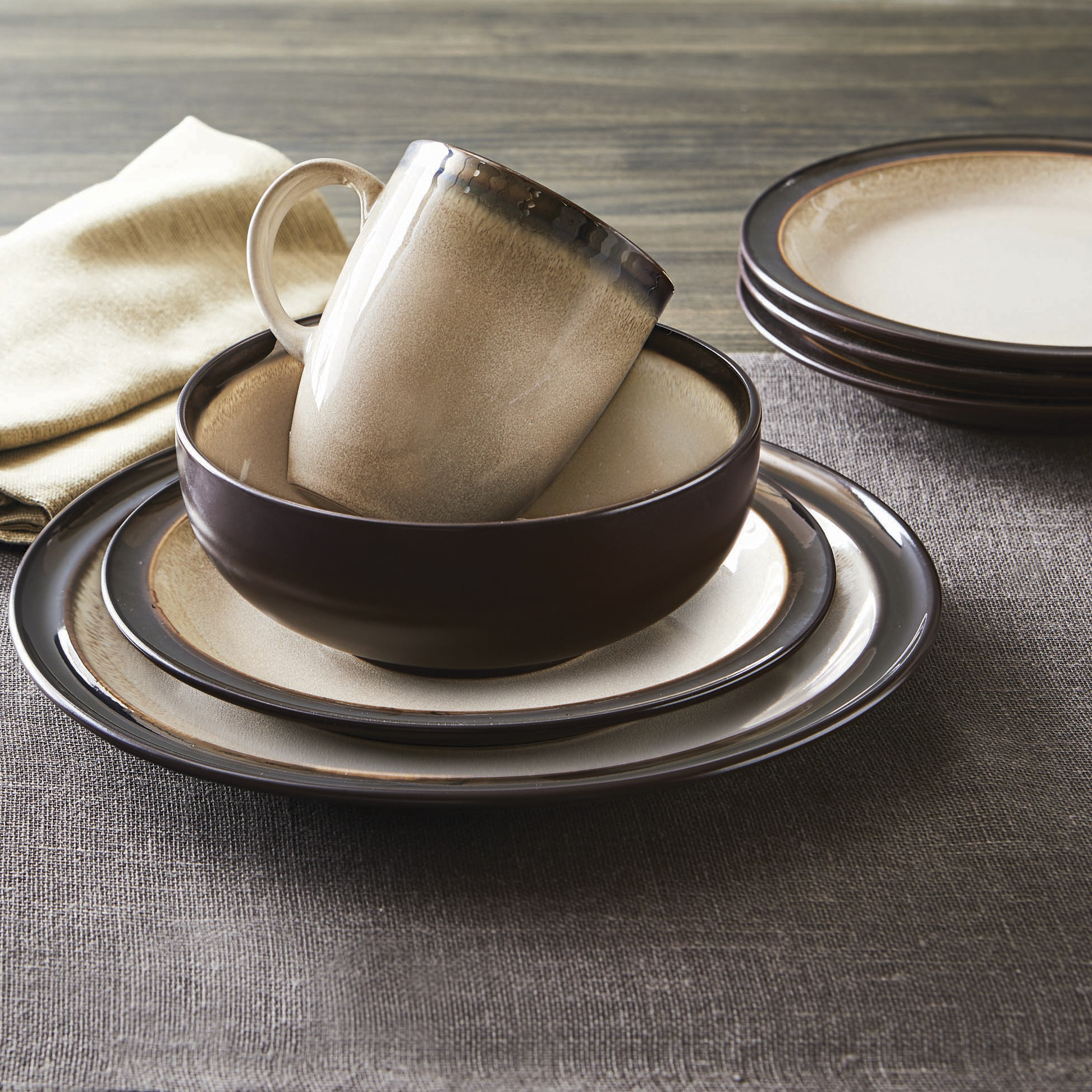 Better Homes and Gardens 16-Piece Sierra Dinnerware Set Beige Image 3 of 8 & Better Homes and Gardens 16-Piece Sierra Dinnerware Set Beige ...