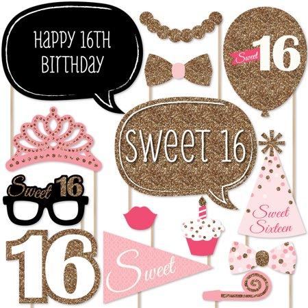 Sweet 16 Birthday - Photo Booth Props Kit - 20 Count