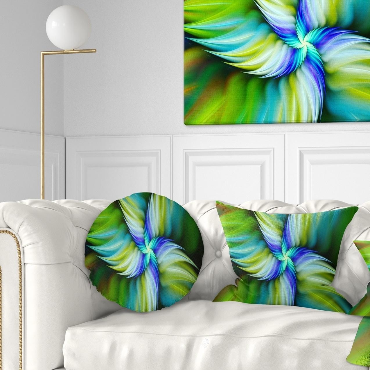 Sofa Throw Pillow 16 Designart Cu15539 16 16 C Rotating Fractal Green Star Floral Round Cushion