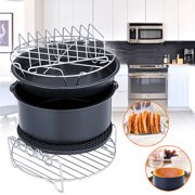 6Pcs 8'' Air Fryer Accessories Set Barbecue Baking Cake Pizza Pan Rack For 5.3 -5.8QT
