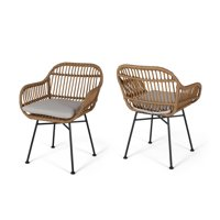 Rodney Outdoor Woven Faux Rattan Chairs with Cushions (Set of 2), Light Brown and Beige Finish