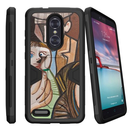 Zte Zmax Pro Z981 Dual Layer Shock Resistant Max Defense Heavy Duty Case With Built In Kickstand   Lady Holding Son