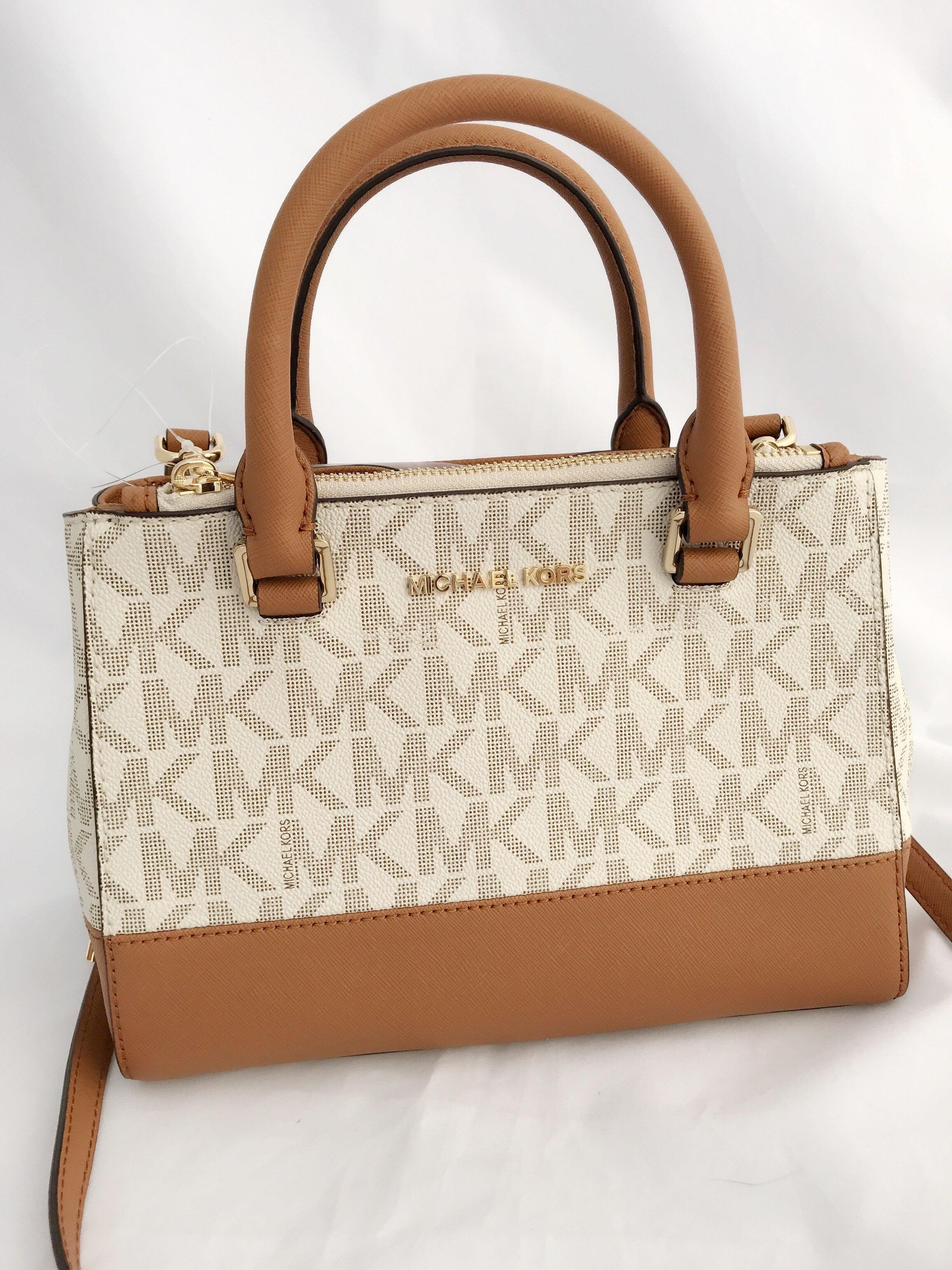 9b0275e4a8848 Michael Kors - NWT Michael Kors Kellen XS Satchel Vanilla MK Signature  Acorn Crossbody Bag - Walmart.com