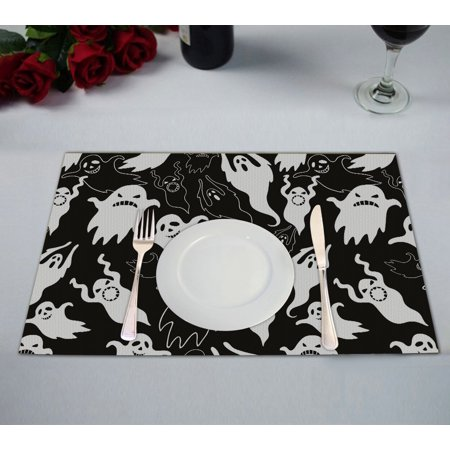GCKG Halloween Theme Placemat, Halloween Dask Night Scary Ghosts Black and White Placemat 12x18 Inch,Set of - Scary Halloween Themes