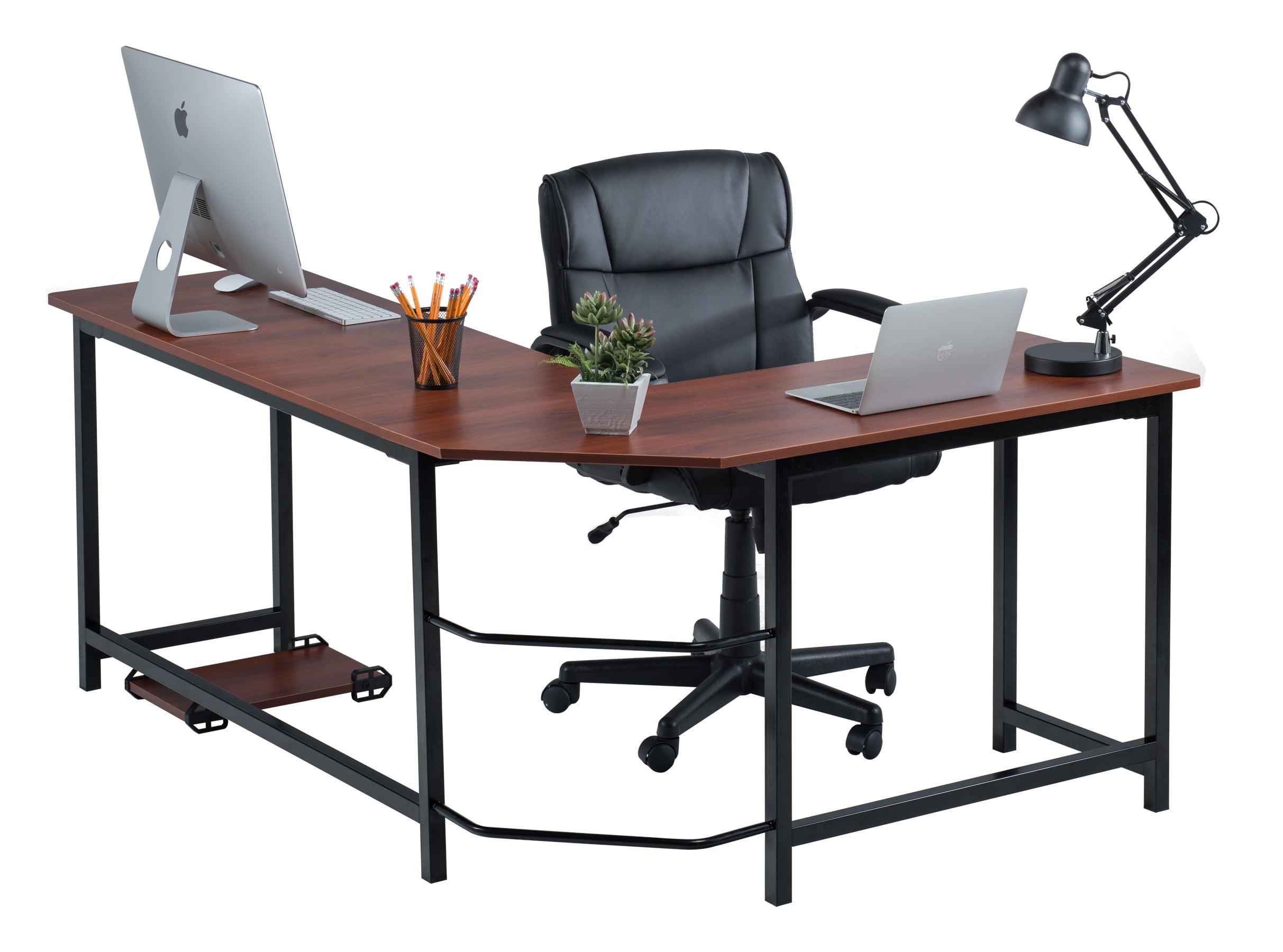 Fineboard Stylish L Shaped Office Computer Corner Desk Elegant Modern Design Beige White Com