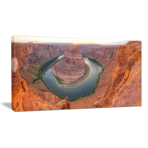 Design Art Horseshoe Bend Arizona Panorama Photographic Print on Wrapped Canvas