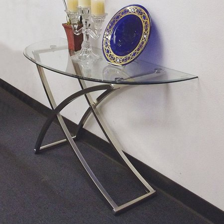 Acme Furniture Paradise Glass Sofa Table with Nickel Plated Base ()