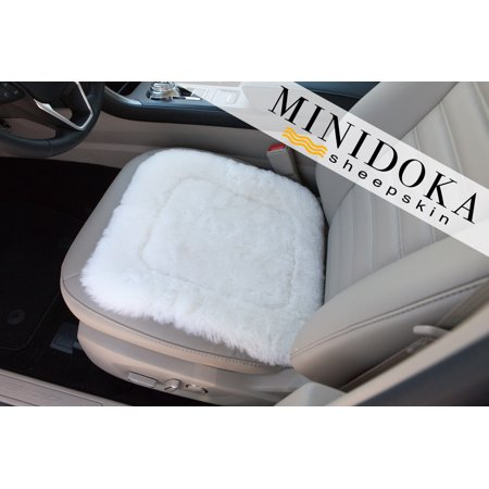 Sheepskin Seat Pad - Ivory - Medium Size 16 x 16 - Universal Fit - Leather and Patented Non Slip Backing for Comfort in Car, Plane, Office, or Home
