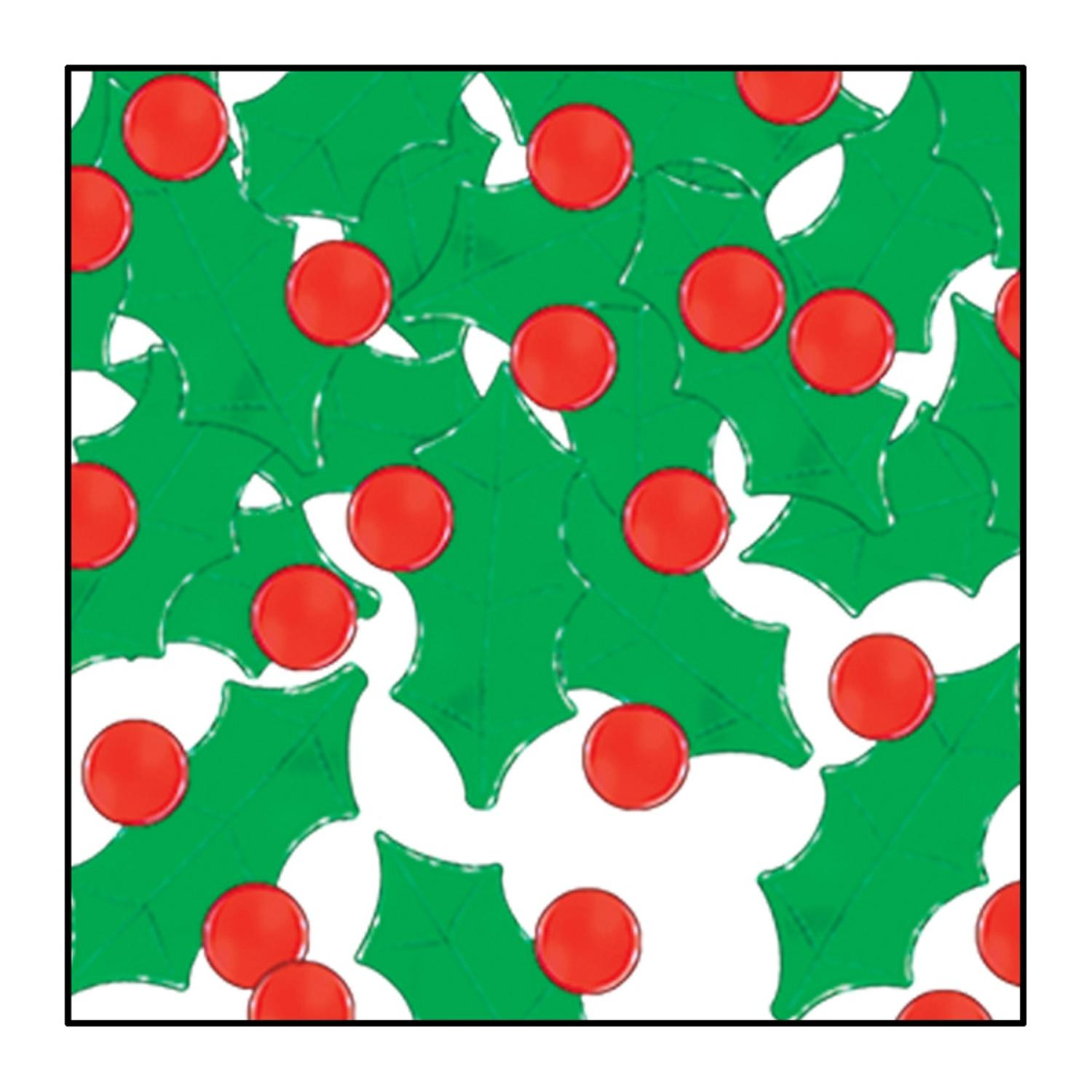 Club Pack of 12 Red and Green Fanci-Fetti Holly and Berry Christmas Celebration Confetti Bags 1 oz.