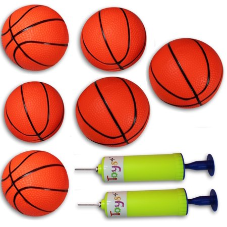 6 Pack Inflatable Magic Shot Pro Mini Hoop Basketballs with Pump (4 Inch Balls)