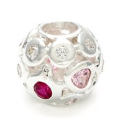 Metal Marketplace International Sterling Silver Clear, Red and Pink Crystal Bead