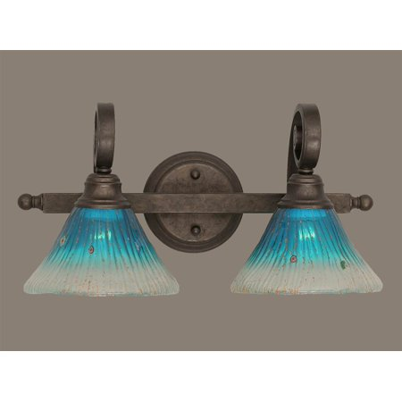 2 Light Bath Bar Fixture In Bronze With 7 In Teal Crystal