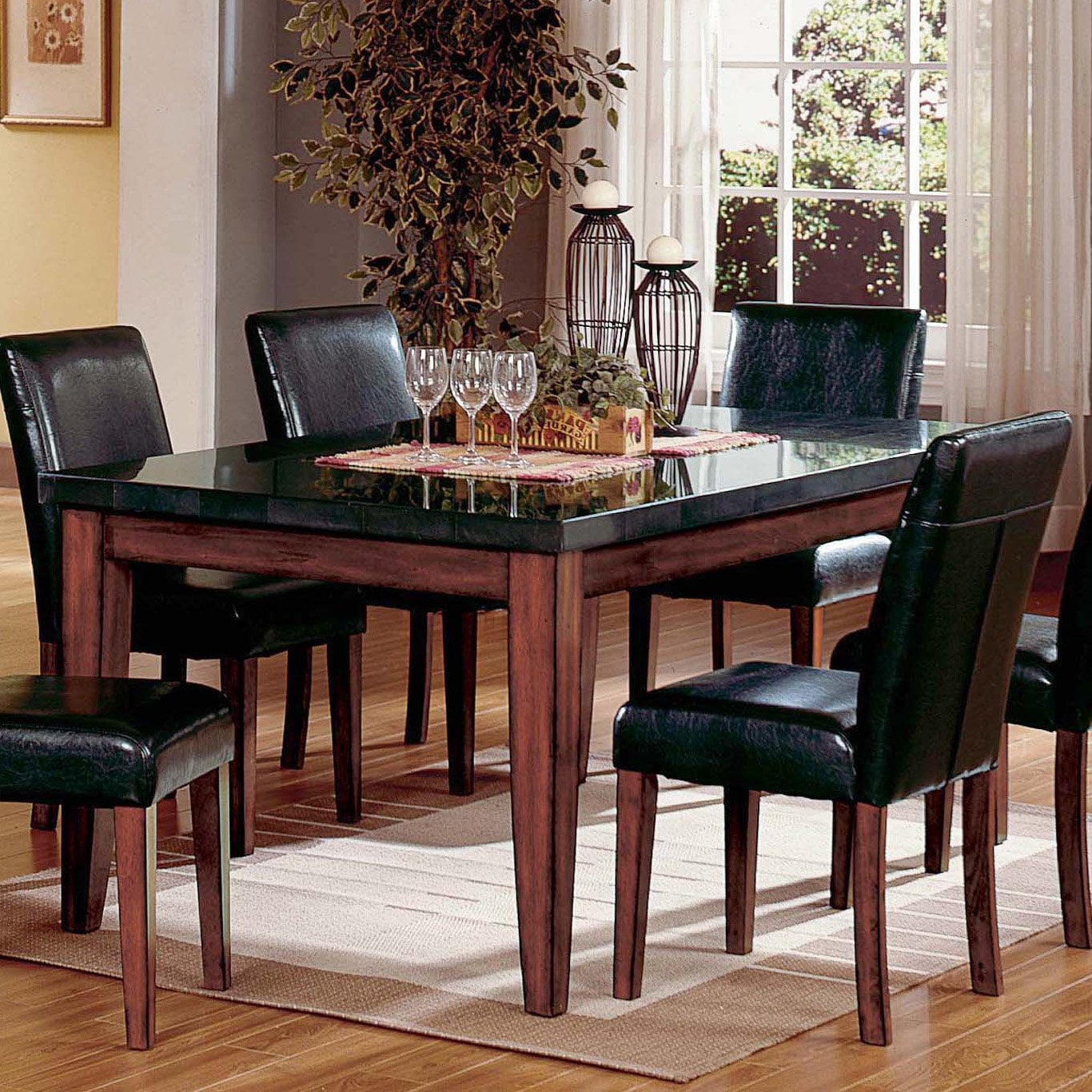 Steve Silver Montibello Granite Top Rectangular Table Walmartcom - Stone top rectangular dining table