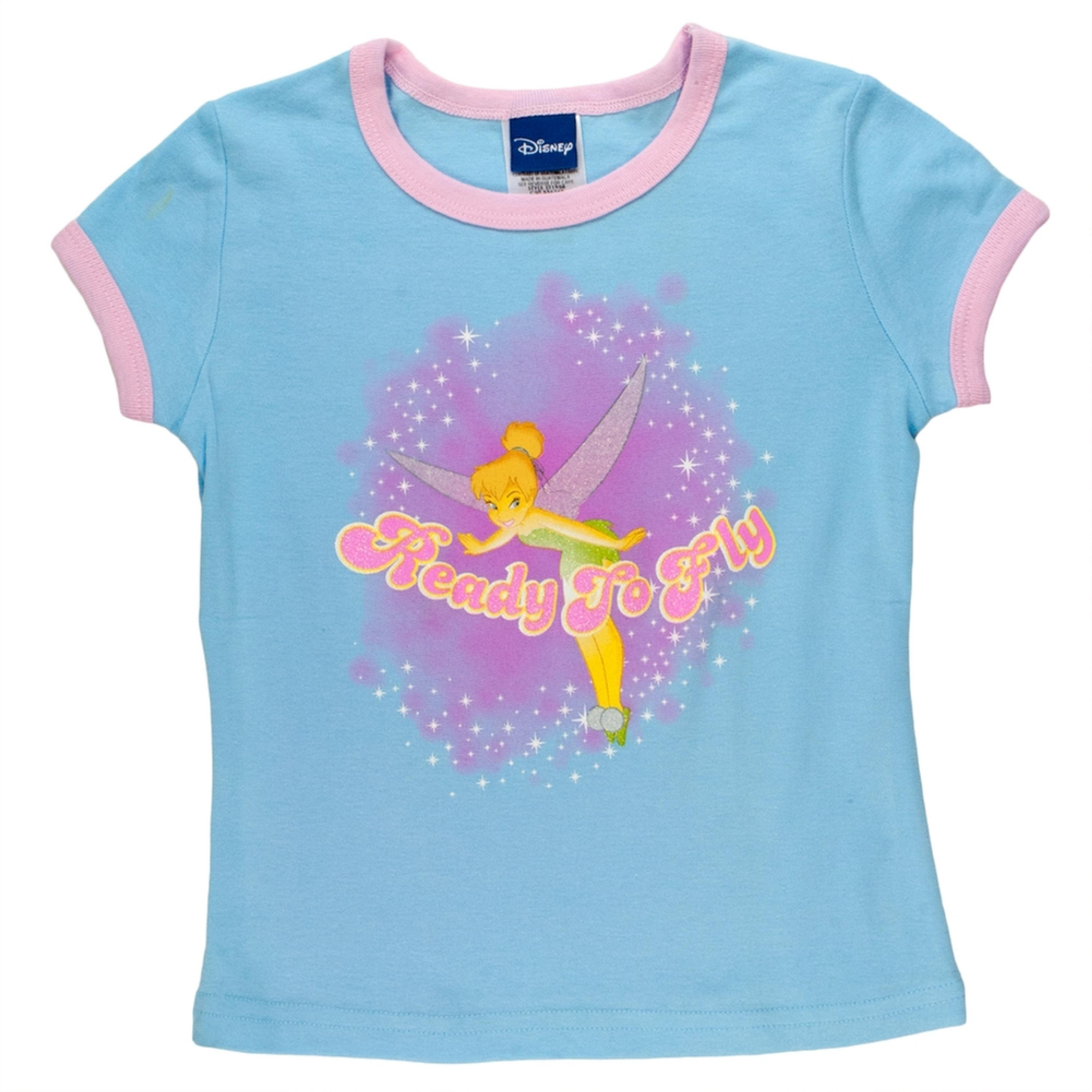 Tinkerbell - Ready To Fly Girls Youth Ringer T-Shirt