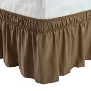 """Elastic Bed Wrap Dust Ruffled Bed Skirt with 15"""" Drop Brown King"""