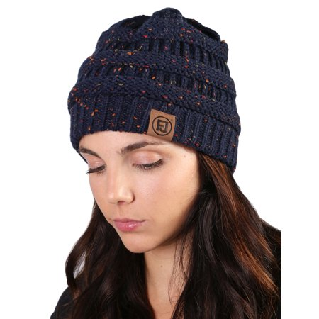 7b6e927ed92 Funky Junque s FJ Knit Cap Women s Men s Winter Hat Soft Slightly Slouchy  Confetti Beanie - Navy - Walmart.com