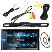 """JVC KWV140BT 6.2"""" Inch Touch Screen Car CD DVD USB Bluetooth Stereo Receiver Bundle Combo With License Plate Mount Rear View Colored Backup Parking Camera, Enrock 22"""" AM/FM Radio Antenna"""
