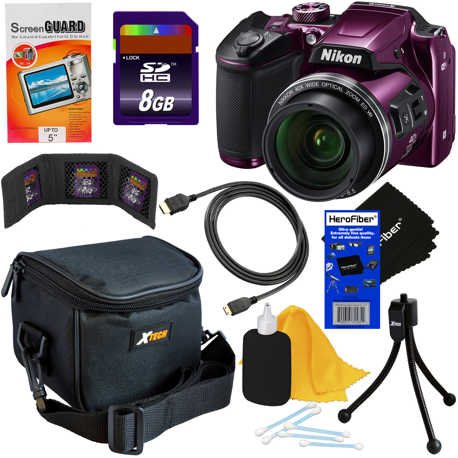 Nikon COOLPIX B500 16MP CMOS Wi-Fi, NFC Digital Camera with 40x Zoom Lens & HD Video (Plum) + 8pc 8GB Accessory Kit w/ HeroFiber® Ultra Gentle Cleaning Cloth