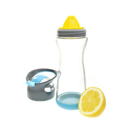 Full Circle Wherever Water 20 Oz. Lemon Glass Travel Bottle, Blueberry