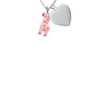 Resin Pink Geronimo the Giraffe Heart Locket Necklace, 18
