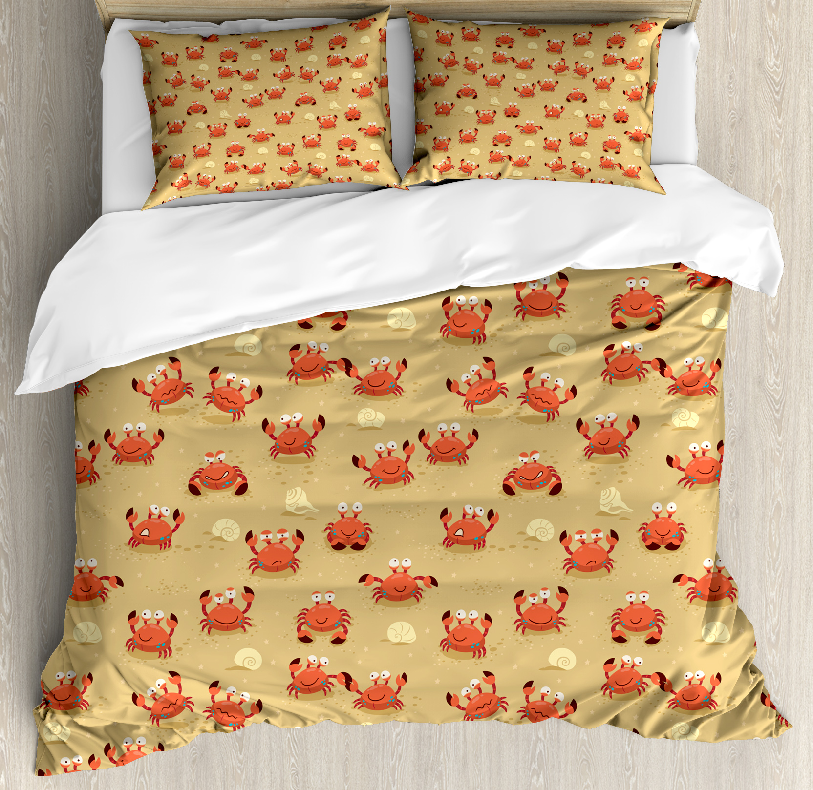 Crabs King Size Duvet Cover Set, Playful Childish Sea Animals on a Sandy Beach with Shells Kids Design Fauna, Decorative 3 Piece Bedding Set with 2 Pillow Shams, Pale Brown Orange, by Ambesonne
