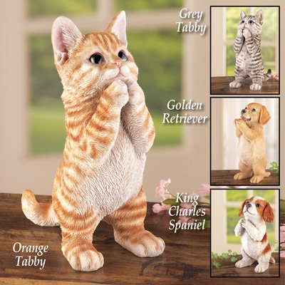 Cute Pet Praying Figurine Statue, Gray Tabby