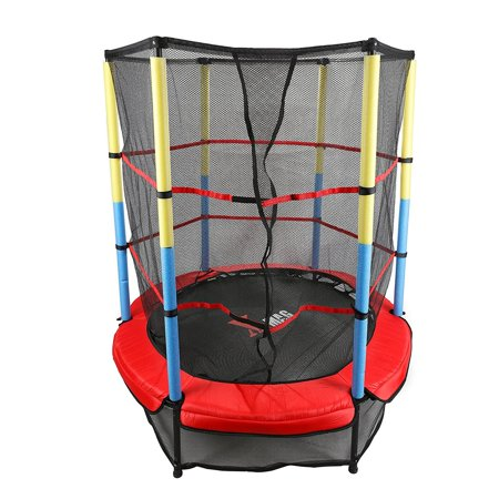 X-MAG 55u0022 Round Kids Mini Trampoline With Enclosure Net Pad Rebounder Outdoor Exercise