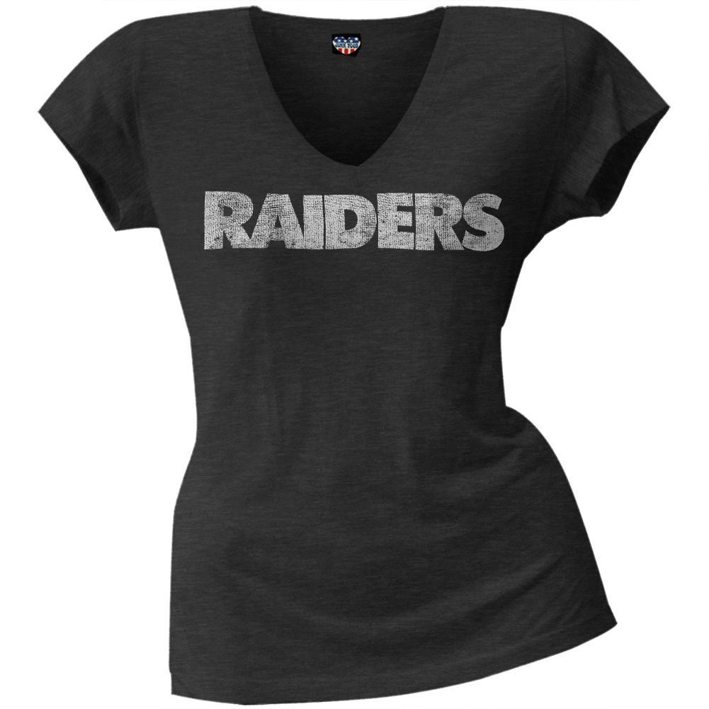 Oakland Raiders - Scrum Logo Juniors Premium V-Neck T-Shirt
