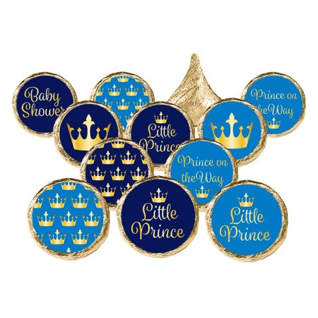 Little Prince Baby Shower Stickers 324ct - Royal Prince Baby Shower Decorations Prince Baby Shower Favors - 324 Count Stickers