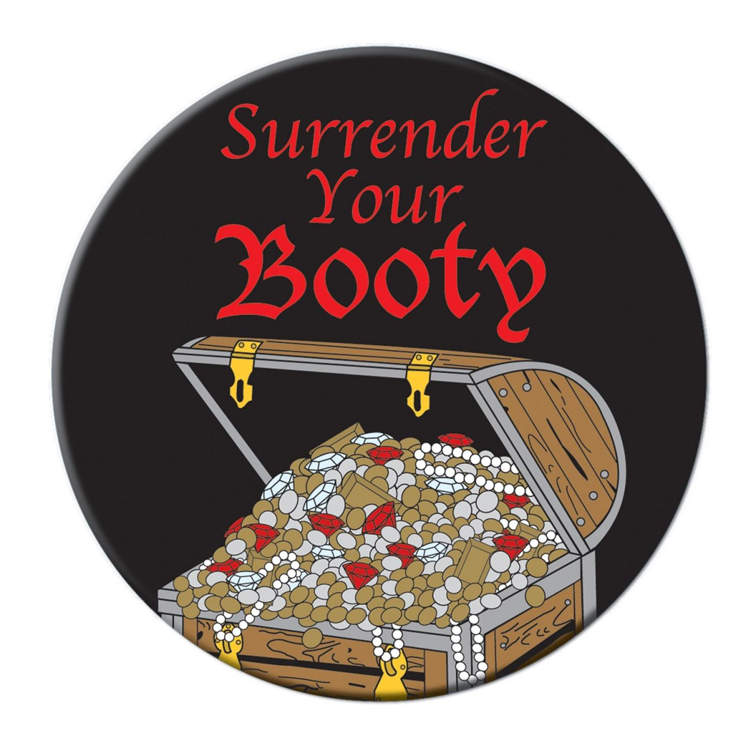 """Club Pack of 12 Multi-Colored Pirate Themed """"Surrender Your Booty"""" Button Party Favors 3.5"""""""