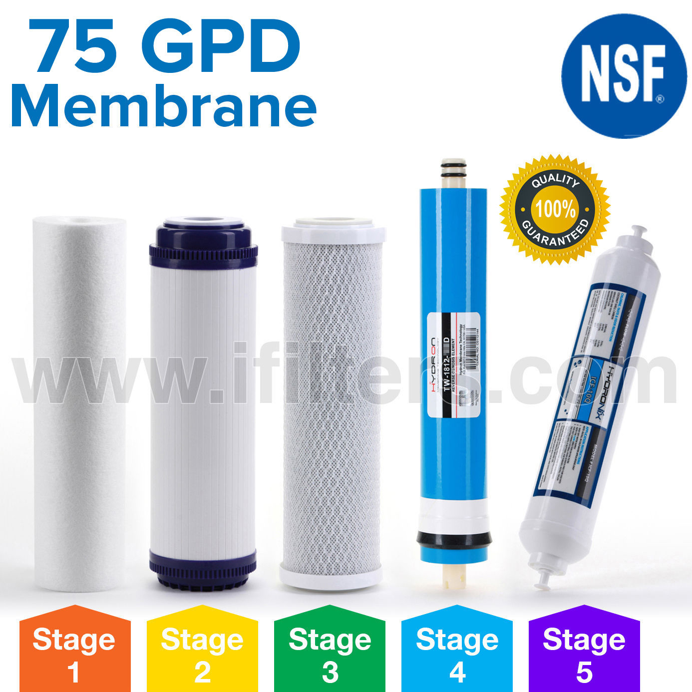 Reverse Osmosis Universal Replacement Filter Set RO Cartridges 5 pcs w/ 75 GPD Membrane