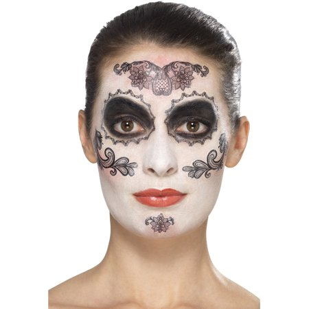 Day Of The Dead Glamour Make-Up Kit With Transfers Costume - Day Of The Dead Makeup