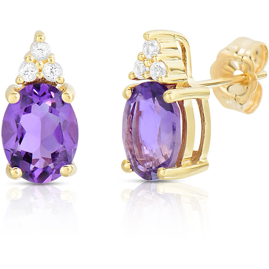 Genuine Amethyst and White Topaz 10kt Yellow Gold Earrings