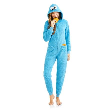 609c560cfbf4a Sesame Street Cookie Monster Women s Sleepwear Adult Costume Union Suit