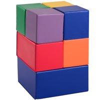 Gymax 7-Piece Set PU Foam Big Building Blocks Colorful Soft Blocks Play Set For Kids