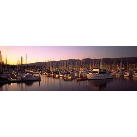 Boats moored at a harbor Stearns Pier Santa Barbara California USA Stretched Canvas - Panoramic Images (36 x 12) ()