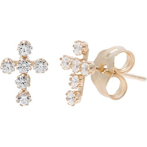 Girls' 14kt Yellow Gold Clear CZ Cross Stud Earrings