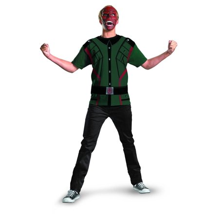 Marvel Captain America Red Skull Shirt & Hat Costume Set Adult - Captain America Costume Adult