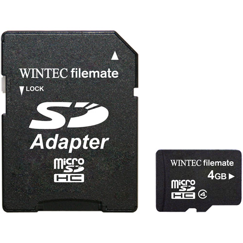 Wintec Filemate 4GB Class 4 Micro SDHC Memory Card with SD Adapter