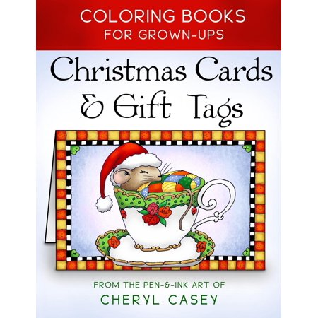 christmas cards gift tags coloring books for grownups adults paperback