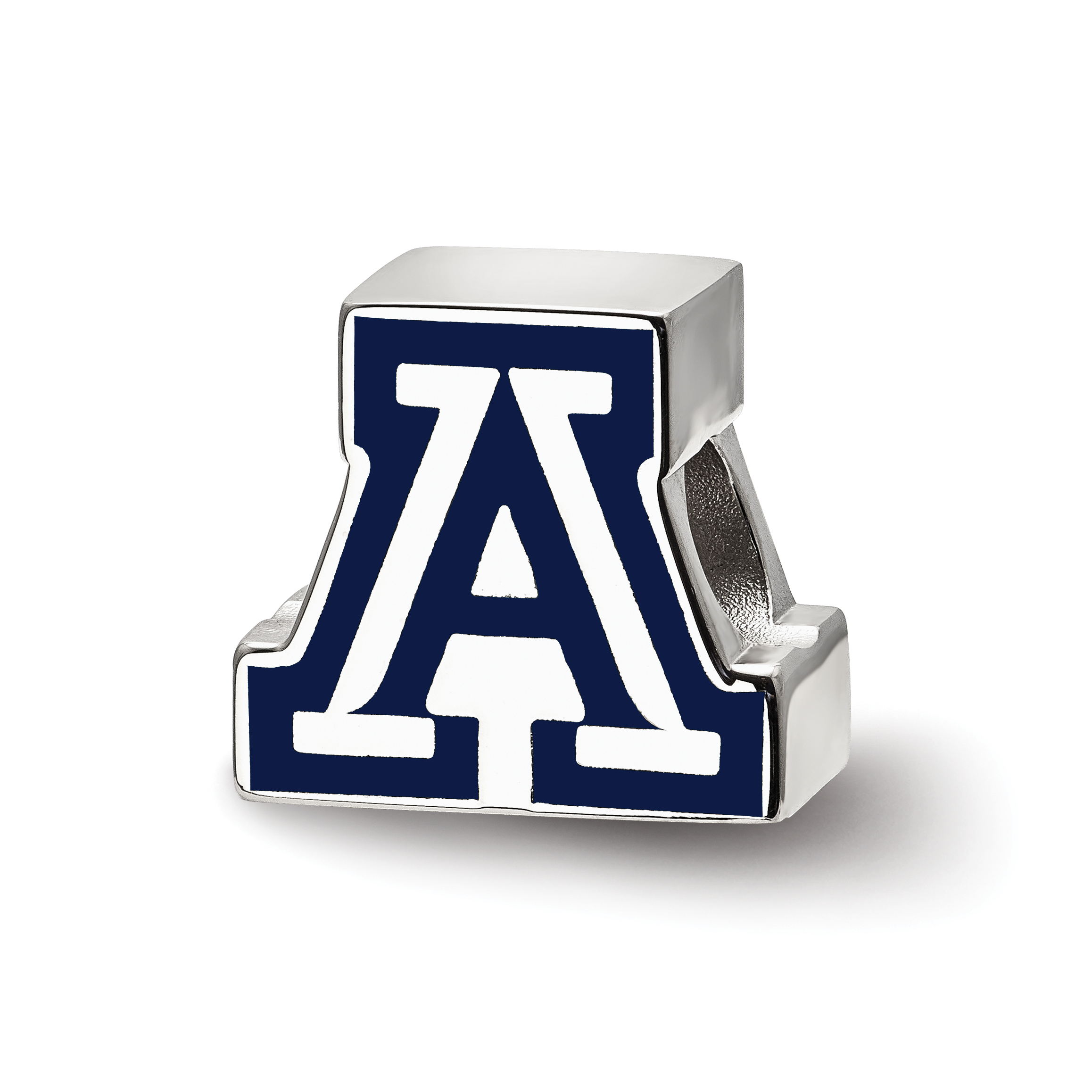 Sterling Silver LogoArt Official Licensed Collegiate University of Arizona (UA) Block A Enameled Logo Bead
