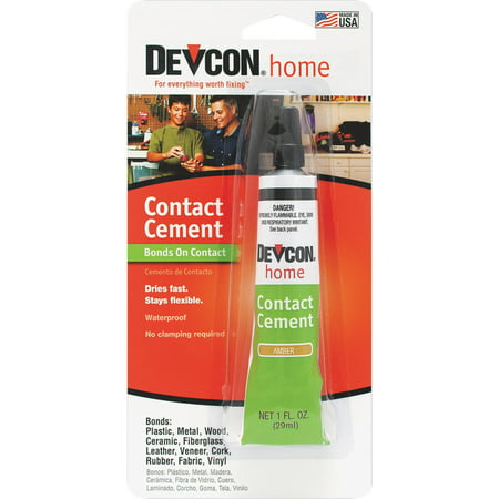 ITW Global Brands 1oz Contact Cement 18045 Devcon Contact Cement - Surface-to-surface no-clamp adhesive bonds on contact. High-strength. Bonds plastic, metal, wood, ceramic, fiberglass, leather, veneer, cork, rubber, fabric, vinyl, and more. 1 oz. - Size: 1 Oz., Shelf Life: 24 mo, Dries Clear: No, Pkg Qty: 1, Package Type: Card
