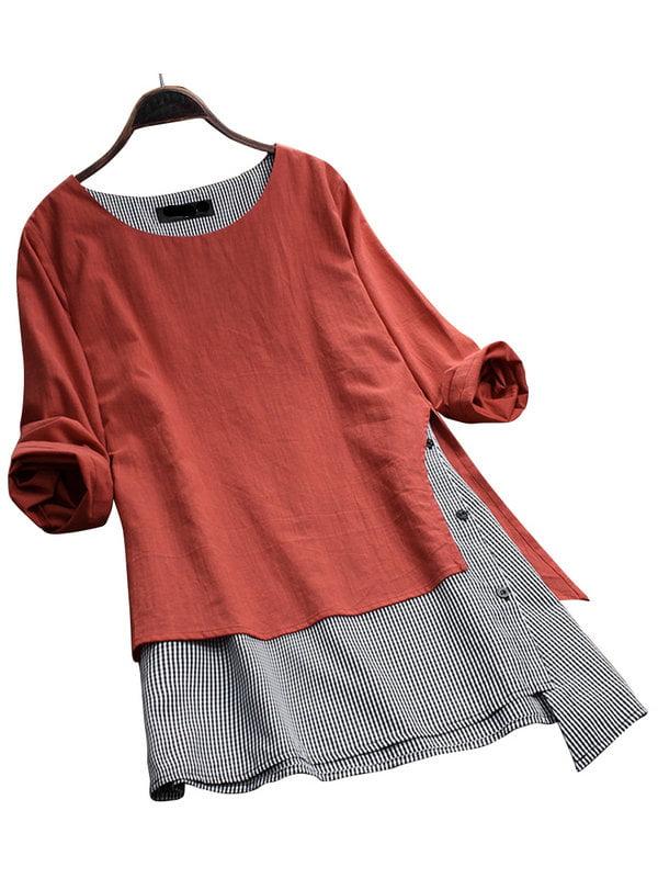 AKFashion Women's Plus Size Long Sleeve Round Neck Plaid Blouse Tops